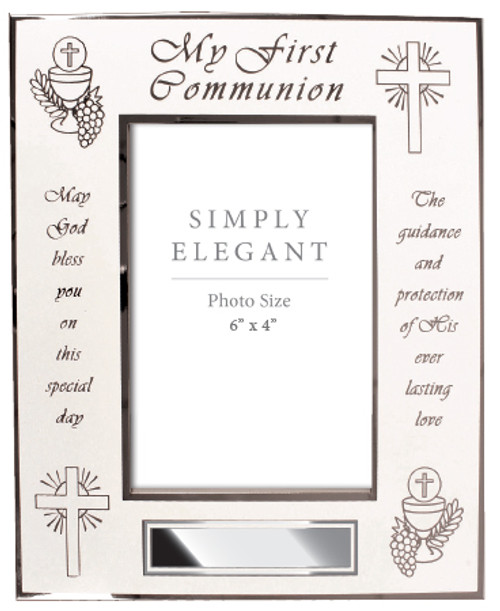Communion Photo frame with a White finish
