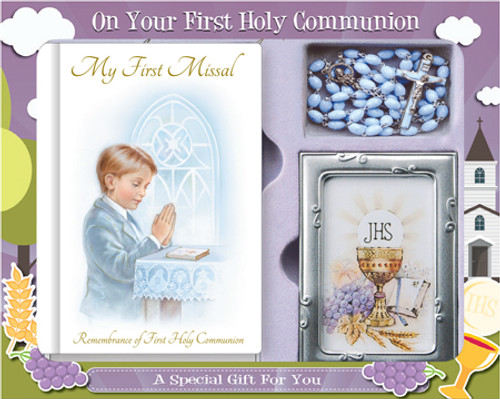 Communion Gift set with Blue Rosary