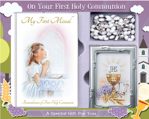 Communion set with Missal, white Rosary and Metal Photo frame