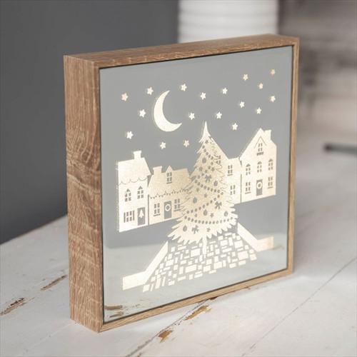 Mirror Light Up Frame Christmas Village Scene