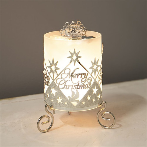 Silver Metal Cut Out Merry Christmas Candle Holder