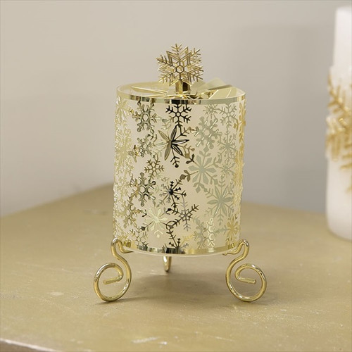 Gold Metal Cut Out Snowflake Rotary Candle Holder