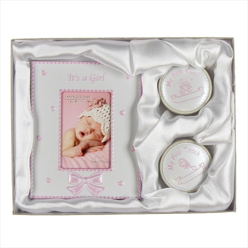 Pink Baby Girl First Tooth and Curl with Frame Set