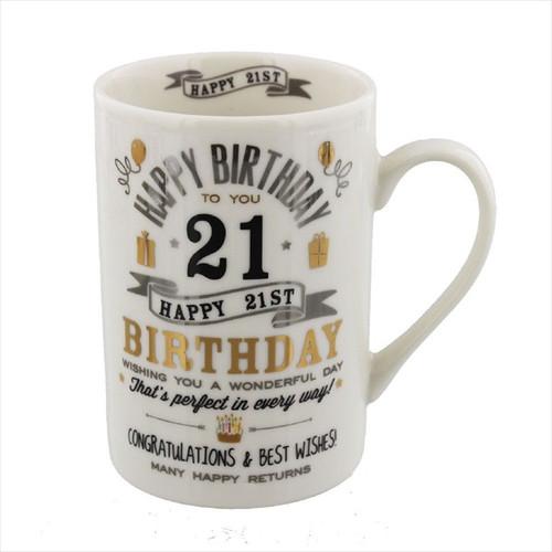 21st Birthday Ceramic Silver and Gold Design Mug