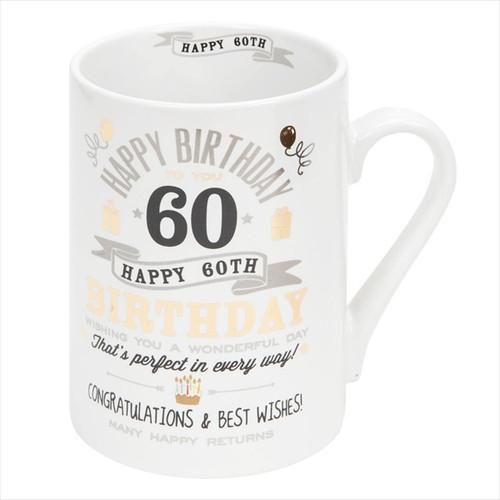 60th Birthday Ceramic Silver and Gold Design Mug