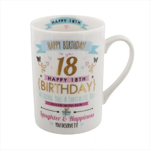 18th Birthday Ceramic Pink and Gold Design Mug