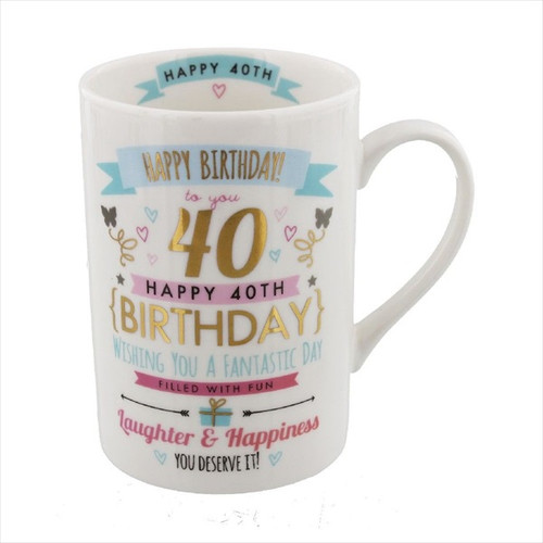 40th Birthday Ceramic Pink and Gold Design Mug