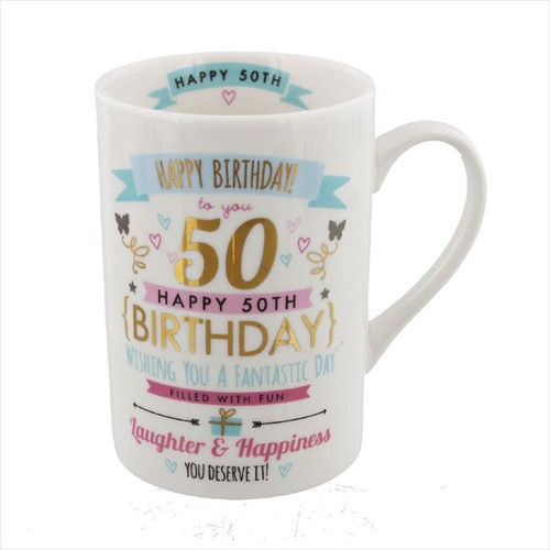 50th Birthday Ceramic Pink and Gold Design Mug