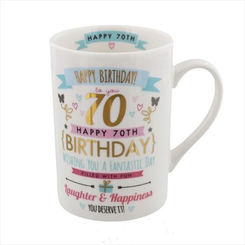 70th Birthday Ceramic Pink and Gold Design Mug