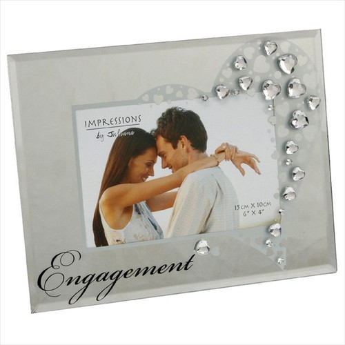 Engagement Mirrored Glass Photo Frame