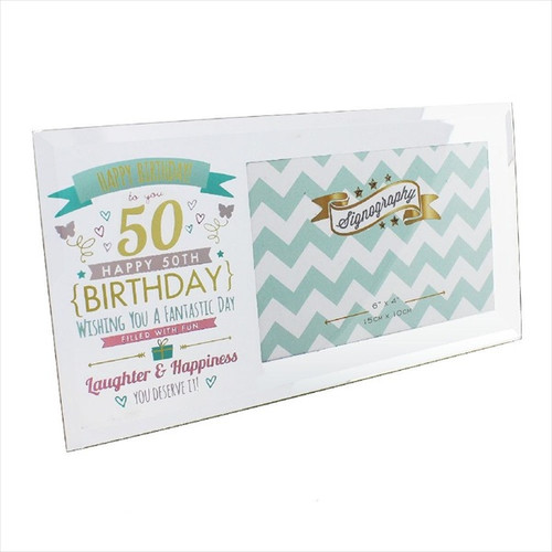50th Birthday Glass Pink and Gold Frame