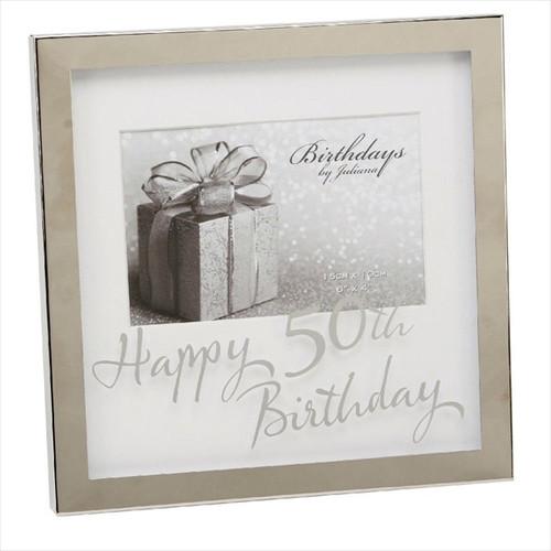 50th Birthday Silver Plated Box Frame