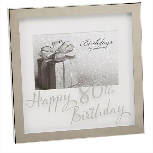 80th Birthday Silver Plated Box Frame