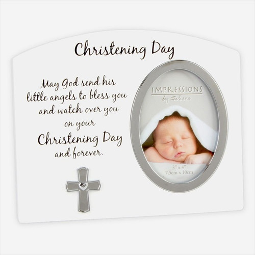 Christening Day White & Silver Cross Photo Frame