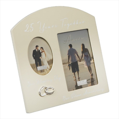 25th Silver Anniversary Cream Wooden Wedding/Anniversary Photo Frame