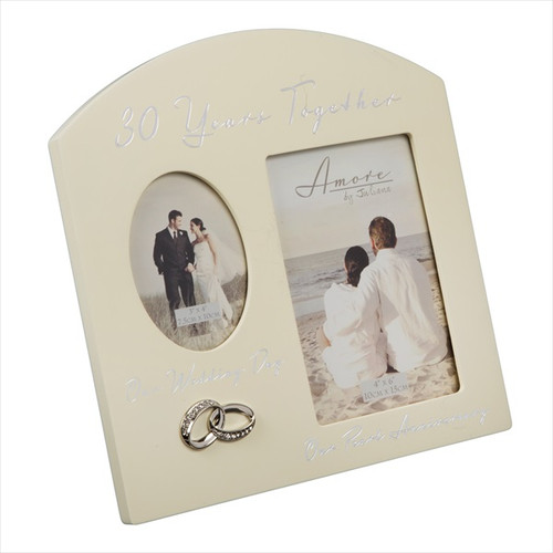 30th Pearl Anniversary Cream Wooden Wedding/Anniversary Photo Frame