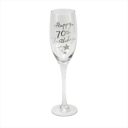 70th Birthday Champagne Glass