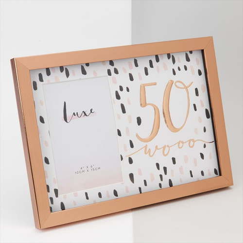 50th Birthday Luxe Rose Gold Wooden Frame