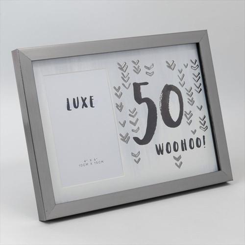 50th Birthday Gun Metal Wooden Frame