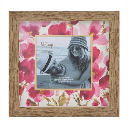 "Pink Floral 4/4"" Wooden Photo Frame"