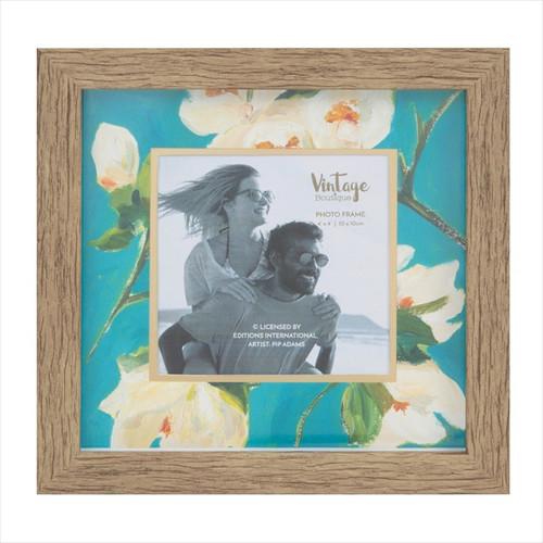 """Teal Floral 4/4"""" Wooden Photo Frame"""