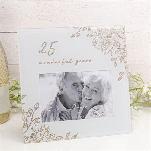 25 Wonderful Years Pale Grey Glass Gold Frame