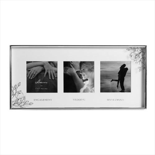 Engagement/Wedding/Honeymoon Silver Foil Triple Frame