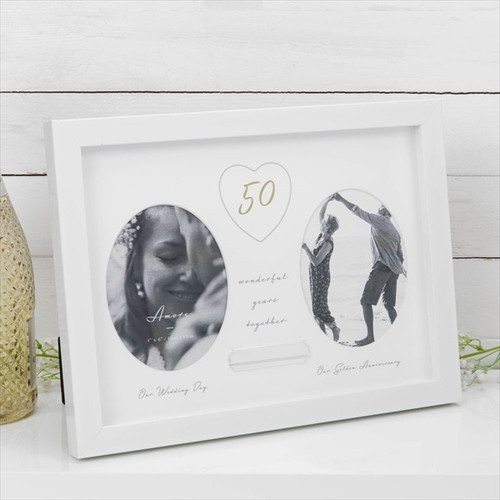 50th Golden Anniversary Double Frame with Engraving Plate