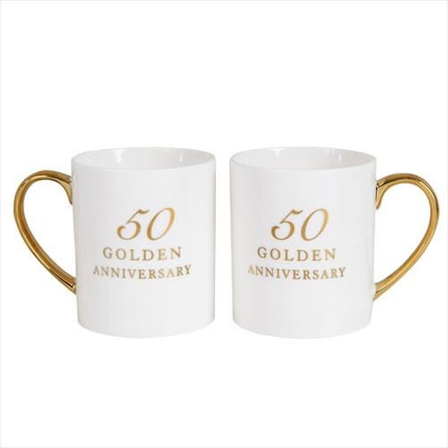 50th Golden Anniversary Pair of Bone China Mugs