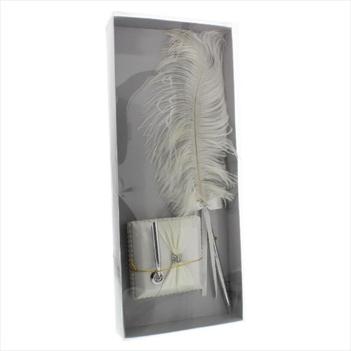 Wings of Love Ostrich Feather Wedding Pen & Stand