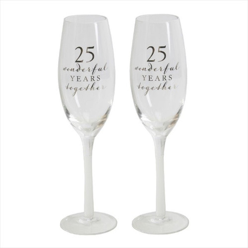 25th Silver Anniversary Pair of Champagne Flutes