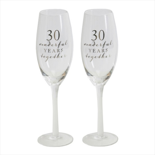 30th Pearl Anniversary Pair of Champagne Flutes