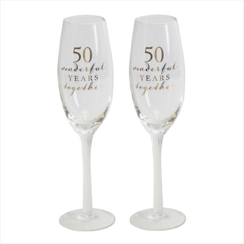 50th Golden Anniversary Pair of Champagne Flutes