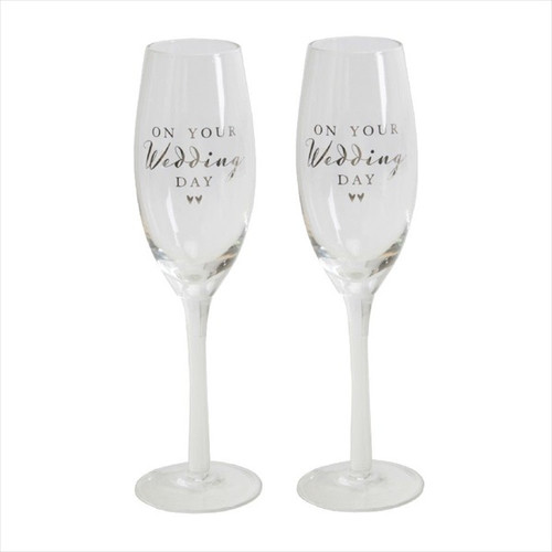 Wedding Day Pair of Champagne Flutes