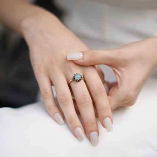 Ring with Aqua Stone Setting