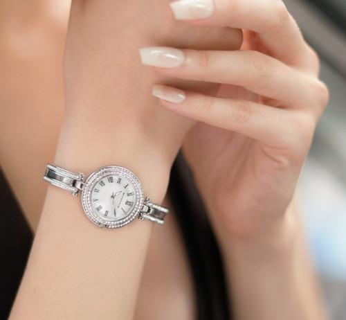Ladies Silverplated Watch Clear Stones Bracelet