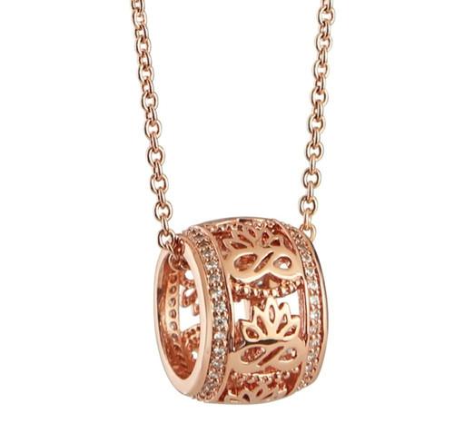 Rose Gold Lotus Pendant Clear Stones