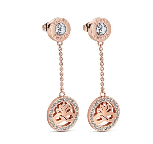 Rose Gold Plated Earring Clear Stones