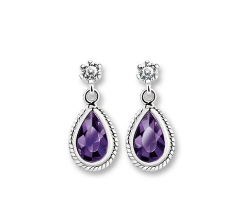 Earrings Purple Stone