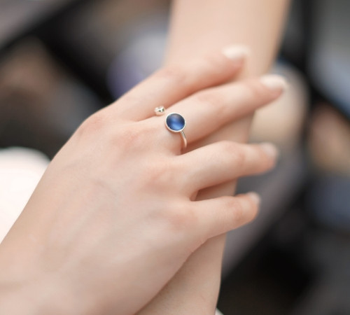 Ring With Blue And Clear Stone Settings
