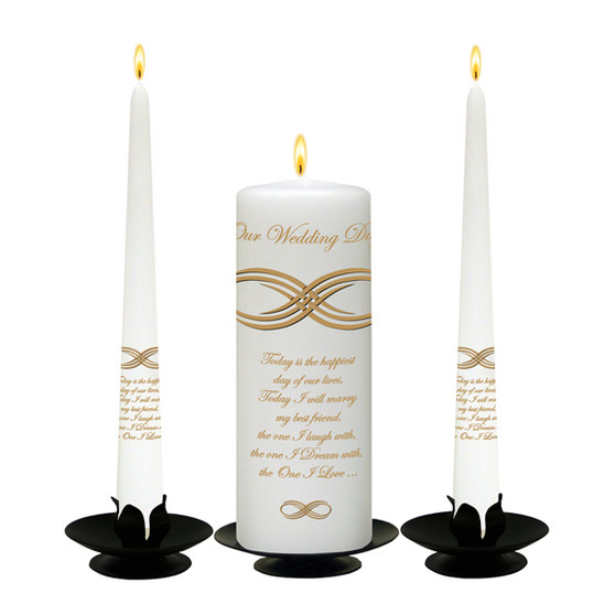 Personalised Infinity Knot Gold Wedding Unity Candle Set-available in White or Ivory