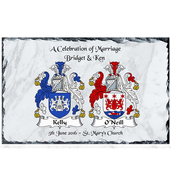 Personalised Family Crest Slate with white background