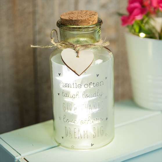 Smile Often Love Life LED Light up Jar