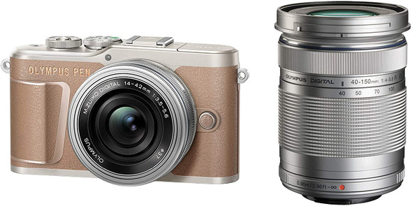 Olympus PEN E-PL10 with 14-42mm and 40-150mm Lenses (Brown)