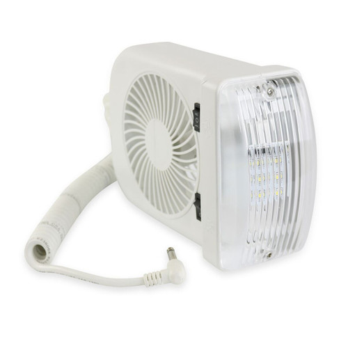 Leisure LED RV Combination Interior 12V Reading Light with 2 Speed Fan Includes LED Light Bulb and Extendable Coil Cord with On/Off Switch
