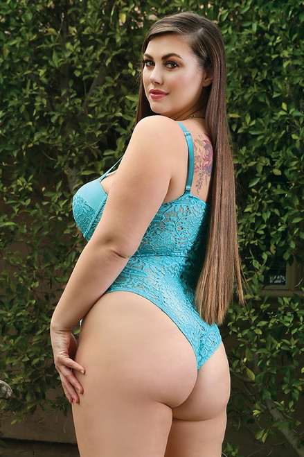 Teal Monroe Push Up Lace Teddy in Plus