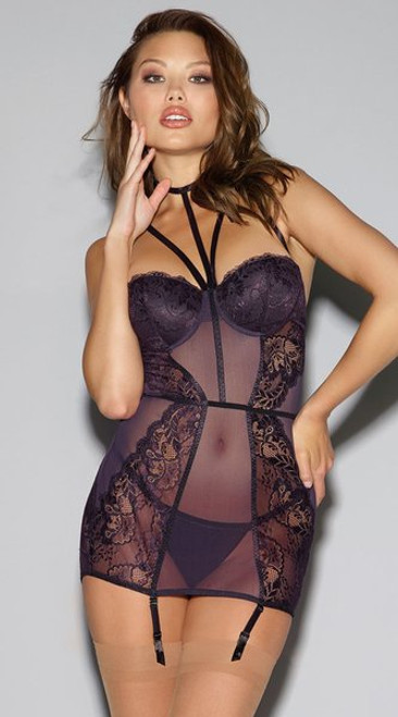 Strappy Lace and Fishnet Garter Slip