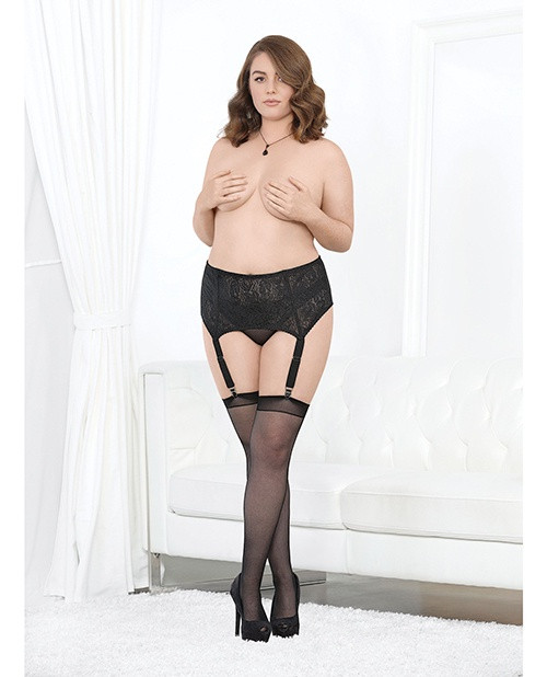 High Waisted Lace and Mesh Garterbelt in Plus