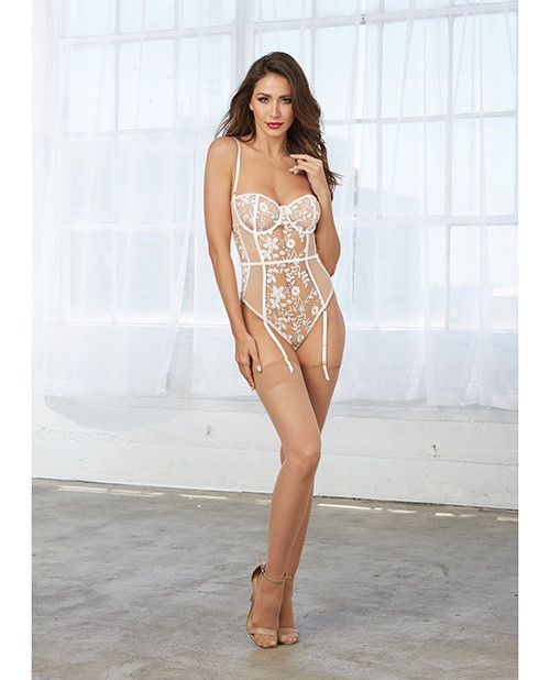 Sheer Nude and White Embroidered Teddy