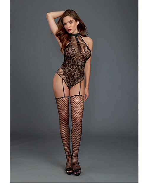 Fishnet and Lace Halter Teddy Bodystocking